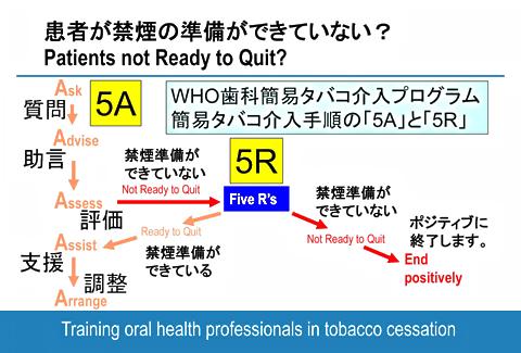 図:禁煙の準備ができていない患者への「5R」の実施を行う機会を示すWHOトレーニングのフローチャート(左側の「5A」の3番目の「評価」の後で「5R」を行う。)